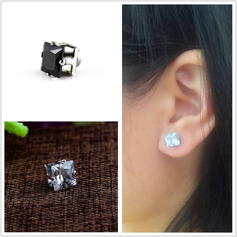 2018 Hot Magnet Earrings For Men Fashion Cool Hiphop 6mm 8mm Square Black White Stud Clip No Pierced In From Jewelry