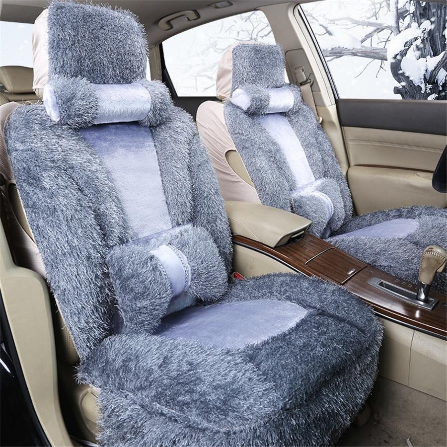 Ensemble de couverture de siège de voiture en fausse fourrure grise avant + arrière pour la plupart des housses de siège Automobiles