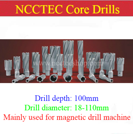 [4'' 100mm Drill Depth] 18-110mm T.C.T. Annular Cutter Carbide Tipped Core Drills Bits Hole Saw For Magnetic Drill Machine