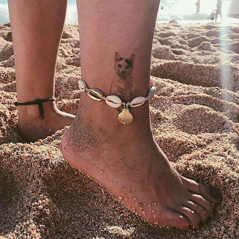 Fashion Silver Gold Shell Anklet Women Natural Shell Beach Barefoot Bracelet Ankle on leg Ankle Strap Boho Shell Foot Jewelry