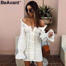 BeAvant Sexy fora do ombro vestido curto mulheres Lace up bodycon preto vestido de verão 2018 Casual ruffles vestido vestidos de outono feminino