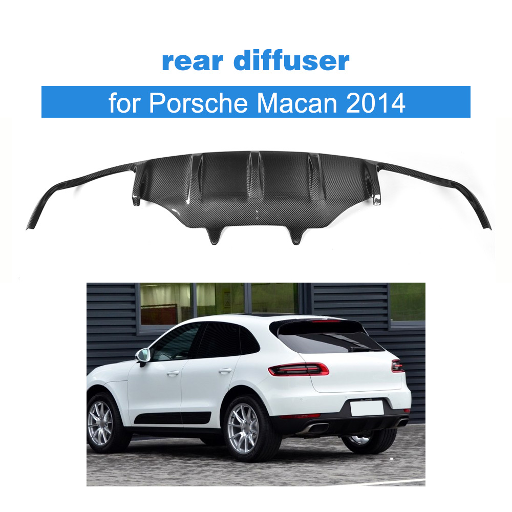 Carbon Fiber Rear Diffuser Lip Spoiler for Porsche Macan 2014 Rear Bumper Exhaust Diffuser Car Tuning Parts