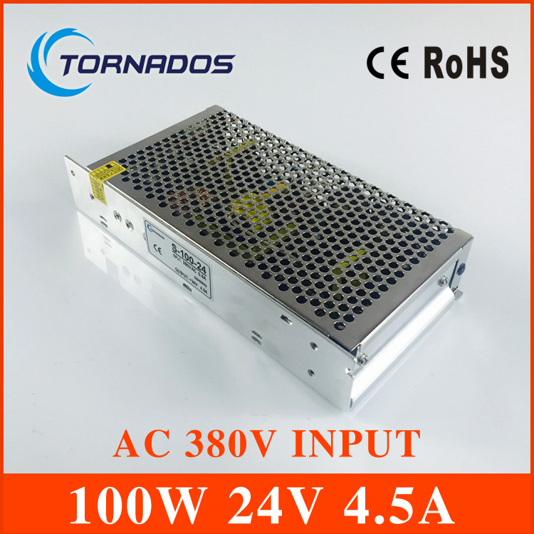 AC 380V input 24V 4.5A output 100W switching power supply of high reliability industrial switch power supply AC-DC Converter switching power supply 5v ccfl inverter instead of cxa m10a l 5 7 inch industrial screen high pressure lm 05100 drive