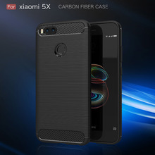 Купить с кэшбэком Xiaomi Mi A1 Case Silicon Xiaomi Mi A1 Cover Xiaomi Mi 5X Case Fundas Soft Carbon Fiber Brushe Coque Etui Capinha Capa Accessory