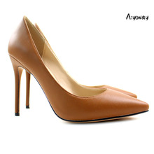 Aiyoway Women Shoes Ladies Pointed Toe High Heel Pumps Evening Party Dress Brown Slip-On  ladies shoes Thin Heels PU