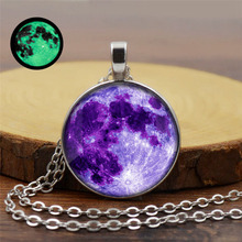 Galaxy Planet Luminous Time Crystal Necklace Silver Pendant Long Sweater Chain Women Wholesale недорого