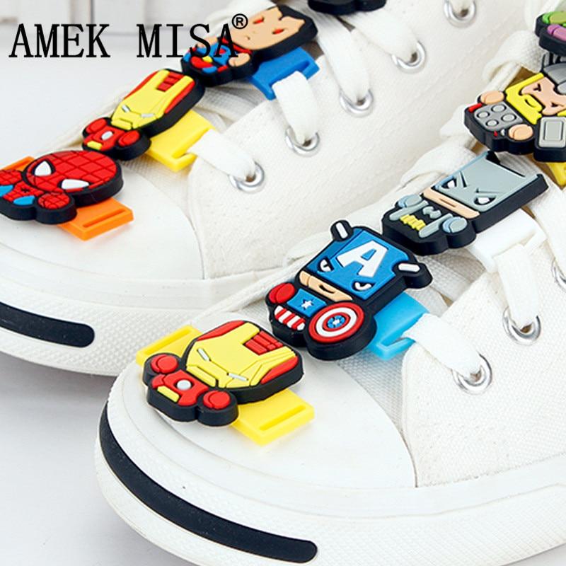 23Pcs A Set Novelty Cartoon PVC Shoe Decorations Casual/Sports Shoe Shoelace The Avengers And Super Hero Charms Accessories M426