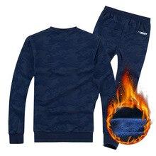 8XL Men Tracksuit Sportswear Winter Fleece thick Sports Sweater Sweatshirt+pants Running Jogging Leisure Set Sport warm Suit