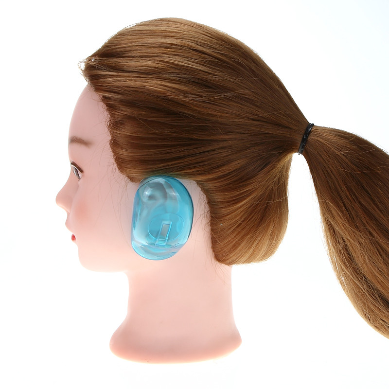 1 Pair Clear Silicone Ear Cover Hair Dye Shield Protect Salon Color Blue Purple New Styling Accessories Free Shipping