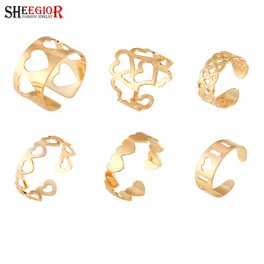 SHEEGIOR Jewelry Heart-Ring 6pieces-Rings-Set Gold Fashion Women Punk Party for Hollow