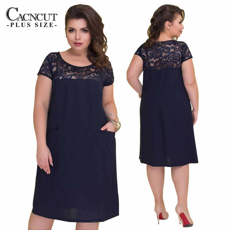 Cacncut 5XL 6XL 2020 新プラスサイズの女性ビッグサイズセクシーなレースの中空アウトドレスダークブルー夏マキシドレスの女性の服