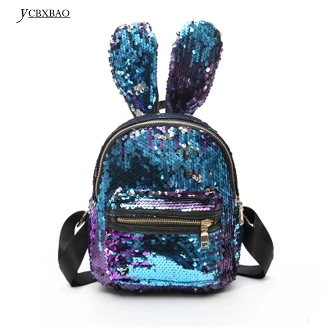 0affb0e2f8f8 2018 Women s Small Leather Backpacks Mini Back Pack Sequins Cute Rabbit  Ears Female Shiny Backpack with Sequins rugzak vrouwen