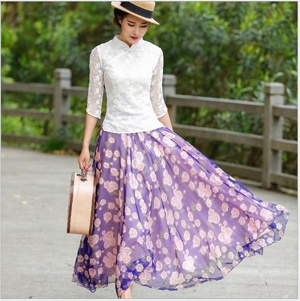 Mode Jupe Doux Nouveau Plissée Féminin K 1038 Filles Femmes Mousseline Printemps Imprimé Jupes En 2018 Soie Violet Coton Chinois Fée De qwxS6Izv