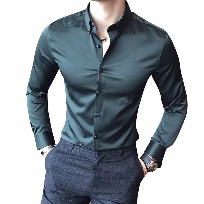 Loldeal Men Non-ironing Anti-wrinkle Version Of British Tight-fitting Male Embroidery Slim Solid Color Long-sleeved Shirt