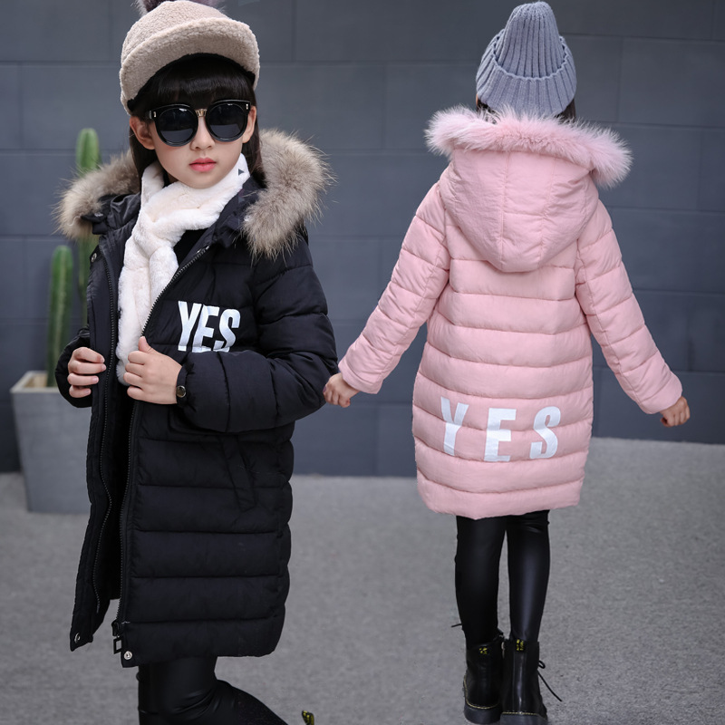 2017 winter down jackets for girls warn thicken natural fur collar hooded jacket for girl down coats outerwear overcoat parkas a15 girls down jacket 2017 new cold winter thick fur hooded long parkas big girl down jakcet coat teens outerwear overcoat 12 14