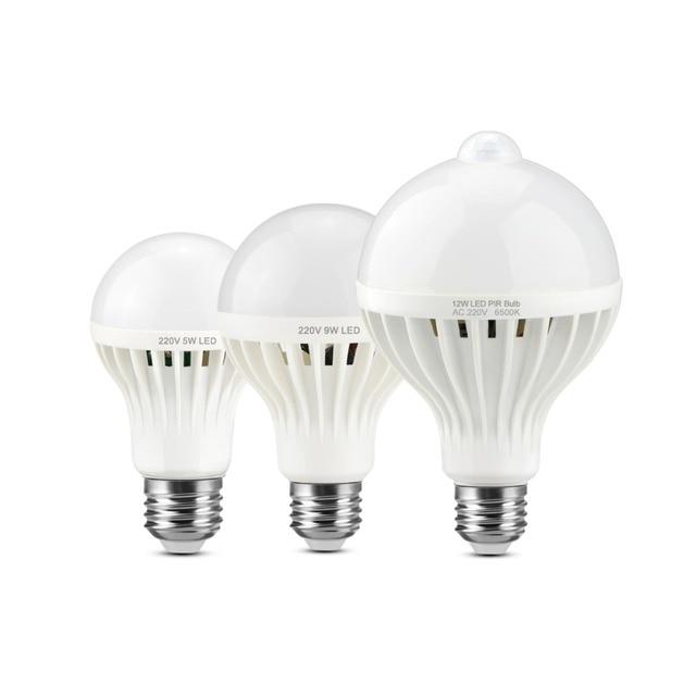 PIR Motion Sensor Night Lamps E27 Infrared Body 5W 7W 9W 12W 220V EU Standard Bathroom Stairs Night Emergency Night LED Lighting