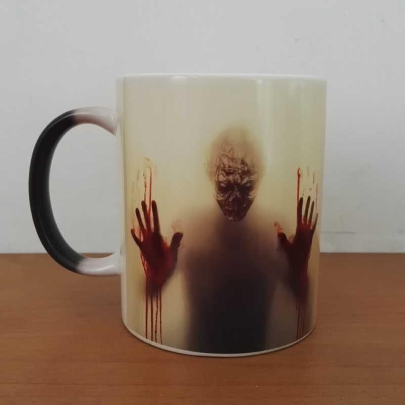 Najnowszy projekt walking dead kubki do kawy zmiana koloru ciepła kubek do herbaty magiczny kubek prezent zombie head dwustronne drukowanie