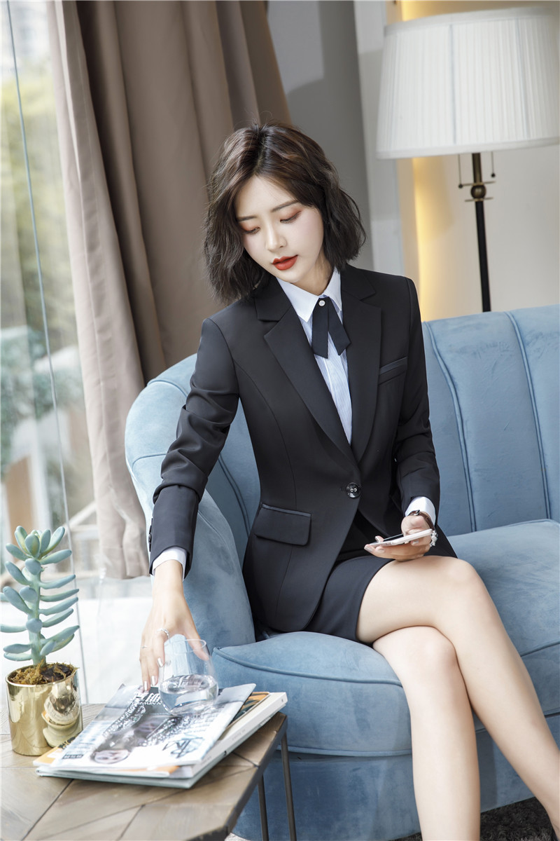 IZICFLY Spring Black Blazer Feminino Female Uniform Business Suits with Trouser Elegant Slim Office Suits for Women Clothing 4XL 55