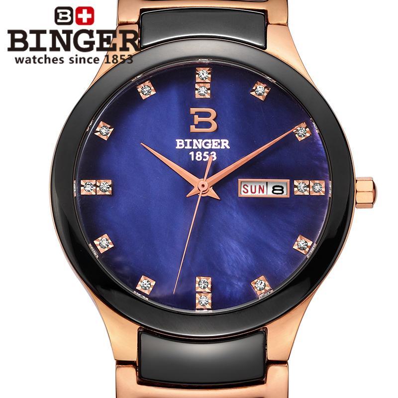 Switzerland Binger ceramic wristwatches men fashion quartz font b watch b font rhinestone Lovers font b