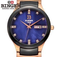 Suiza Binger cerámica Amantes de relojes de pulsera hombres reloj de cuarzo de moda rhinestone relojes 100 M Resistencia Al Agua B-8007-8