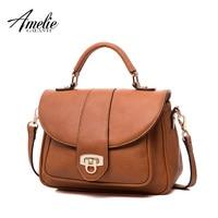 AMELIE GALNATI Women's Handbag Classic Fashion Handbags & Crossbody Bags Solid Soft PU Leather Women Crossbody Bag Hasp Flap Bag Top-Handle Bags