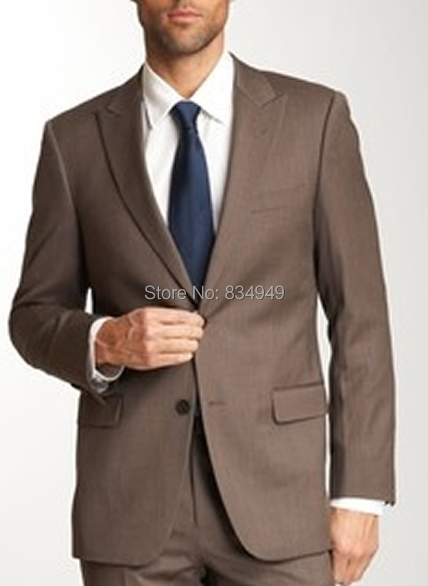Wedding Suits For Men Dark Brown Custom Made Bespoke Chocolate 2 On Peak Lapel Suit In From S Clothing