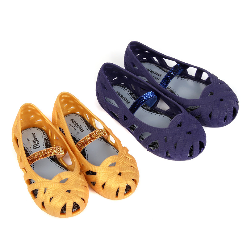 Mini Melissa garden Girls Sandals 2018 Jelly Shoes Waterproof Sandals Girls Roman Sandals Breathable Beach Shoes Princess Shoes