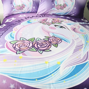 Image 3 - BeddingOutlet Cartoon Unicorn Kids Bedding Set King Rose Floral Duvet Cover Girly Home Textiles Purple Bedclothes 3pcs Drop Ship