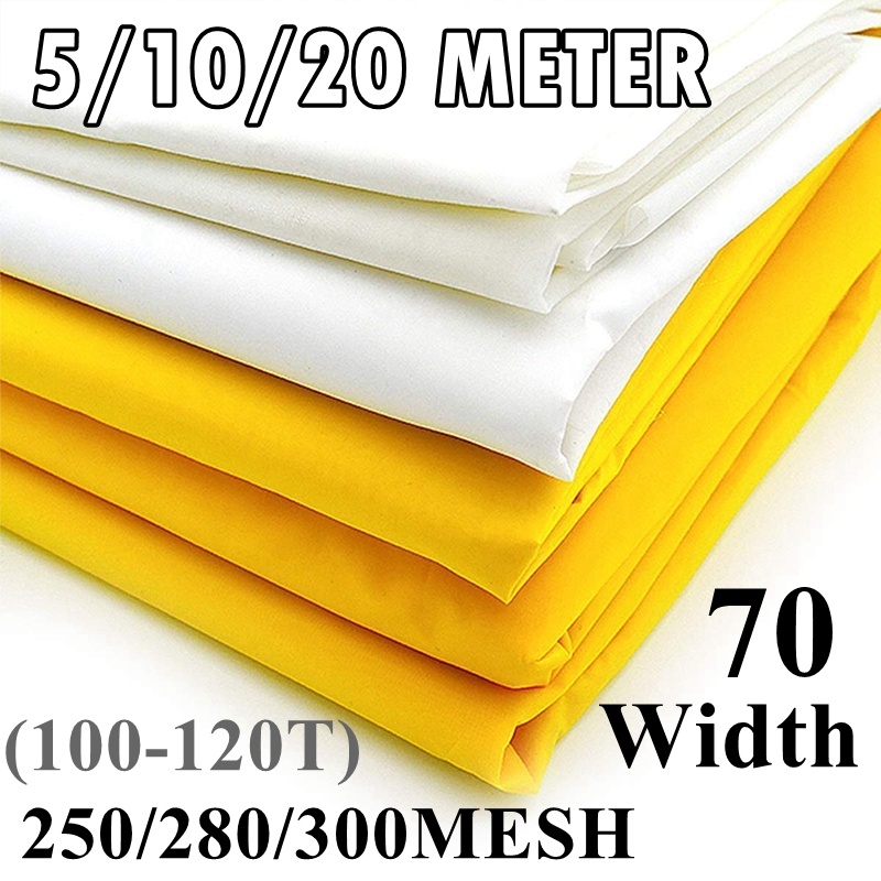 5/10/20 Meter 100/110/120T Silk Screen Printing Mesh 70CM Width 250/280/300M White Polyester Screen Printing Mesh Fabric
