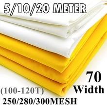 5/10/20 Meter 100/110/120T Silk Screen Printing Mesh 70CM Width 250/280/300M White Polyester Screen Printing Mesh Fabric