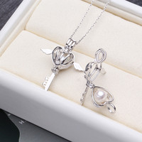 Angel wings Locket natural Pearl Pendant Necklace,S925 Sterling Silver Accessories Pendant For Women As A Gift For The Party