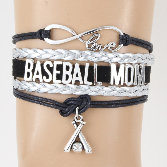 10pcs Lot Infinity Love Baseball Mom Bracelet Bangles Black Silver Braided