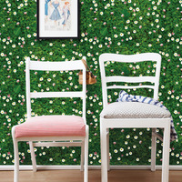 Green Grassland White Flowers Wall Floor Covering Wall Stickers DIY Home Background Decor Wallpaper Poster Fresh Plant Wall Art