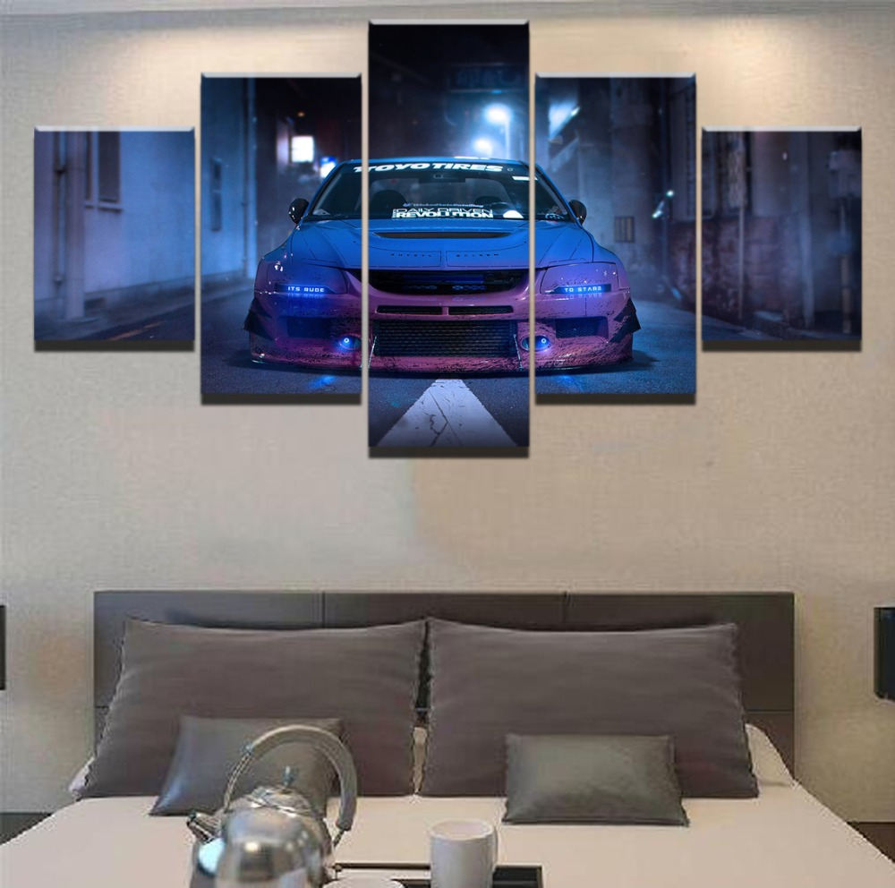 Blue Car Mitsubishi Lancer Evolution Sport Car Painting Home Canvas Wall Art For Living Room HD Print Wall Art Canvas Painting in Painting Calligraphy from Home Garden