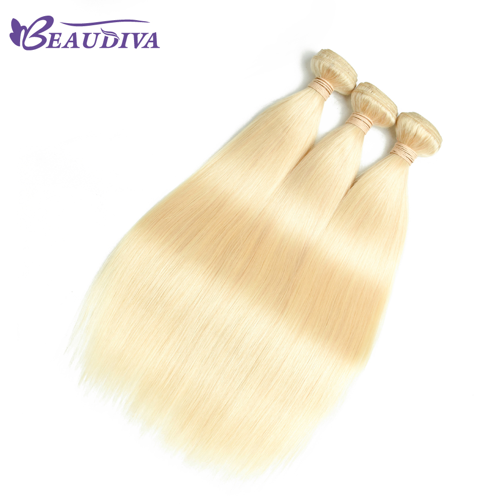 BeauDiva Peruvian Straight Hair 613 Honey Blonde Color 3 Bundles Weaving Non Remy 100% Human Hair Extensions 10-26 Inch