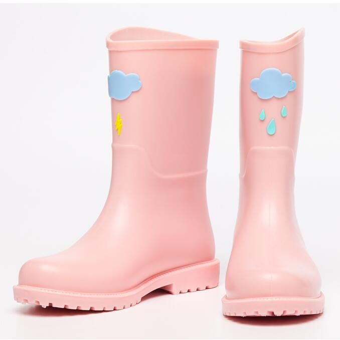 Rouroliu Hand-Painted Women Rain Boots Waterproof Water Shoes Woman Wellies Cute Cartoon Rubber Rainboots RT307