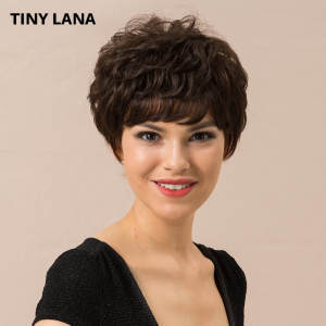 Wig 50%Human-Hair Short Lana Curly with Bangs Dark-Brown Women Blend-Wig Soft-Hair Tiny