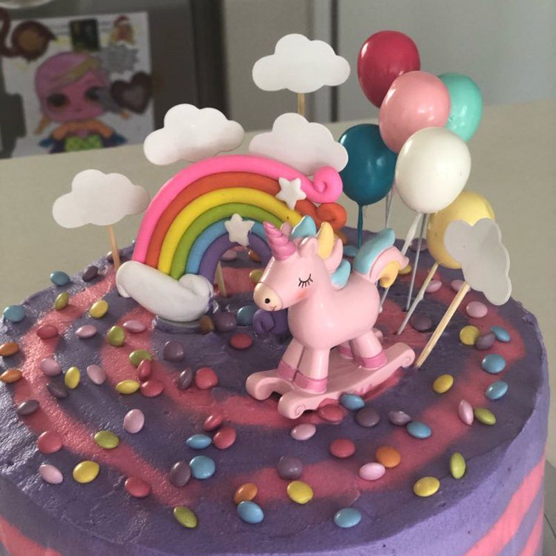 Unicorn Cake Topper Rainbow Cloud Cake Toppers Happy Birthday Party Decorations Kids Favors Cake Cupcake Topper Wedding Decor