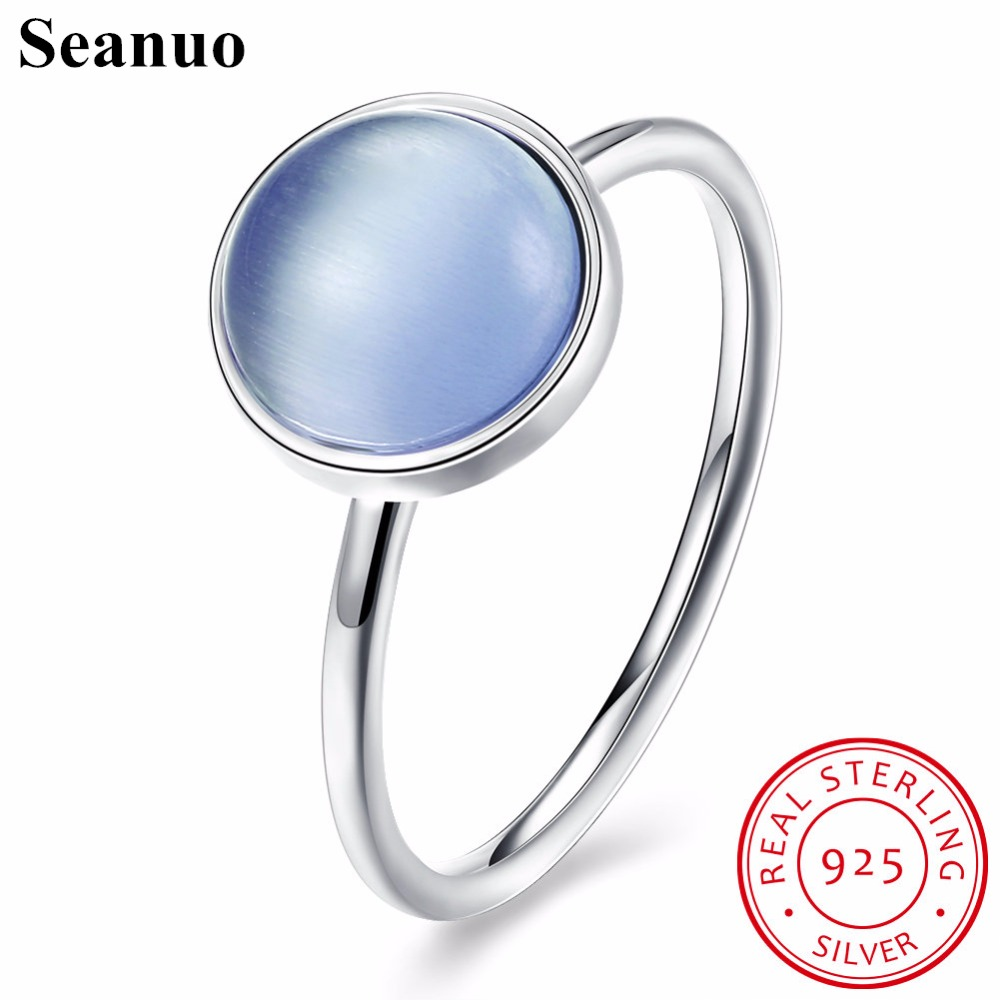 Seanuo Summer Collection Pure 925 Sterling Silver Ring Women Trendy Blue Imitated Stone Finger Ring Elegant Lady Sexy Party Ring