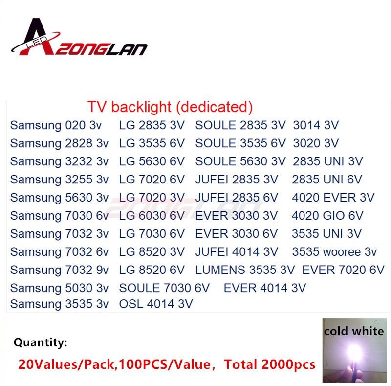 LG 2000pcs lot 1W 2W SMD LED Kit 3V 6V 2835 3030 2828 3535 5630 7020