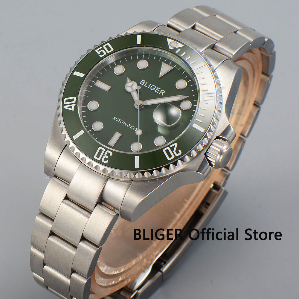 43MM BLIGER Green Dial Sapphire Crystal Men's Wrist Watch Luxury Luminous Marks Miyota Automatic Movement Men's Watch B28 цена