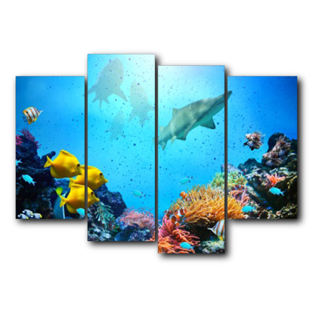 Laeacco Underwater World Sea Fish Posters Prints Abstract Canvas Painting Home Living Room Bedroom Decoration Wall Art Picture in Painting Calligraphy from Home Garden