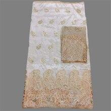Elegante partei sets Afrikanischen rohseide george spitze stoff (5 yards/pc) passenden Französisch tüll stoff (2 yards/pc) OGN2