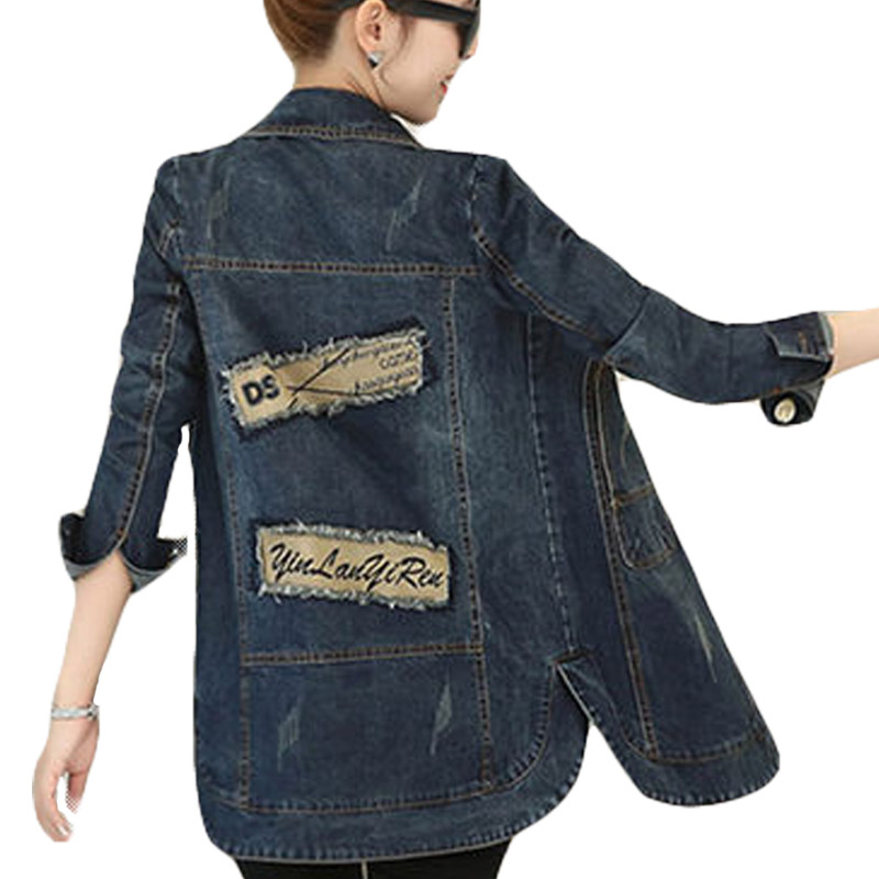 Spring Autumn Women Single Breasted Long Sleeve Roll Up Jeans Coat Patch Designs Female Casual Long Denim <font><b>Jacket</b></font> Outerwear XH315