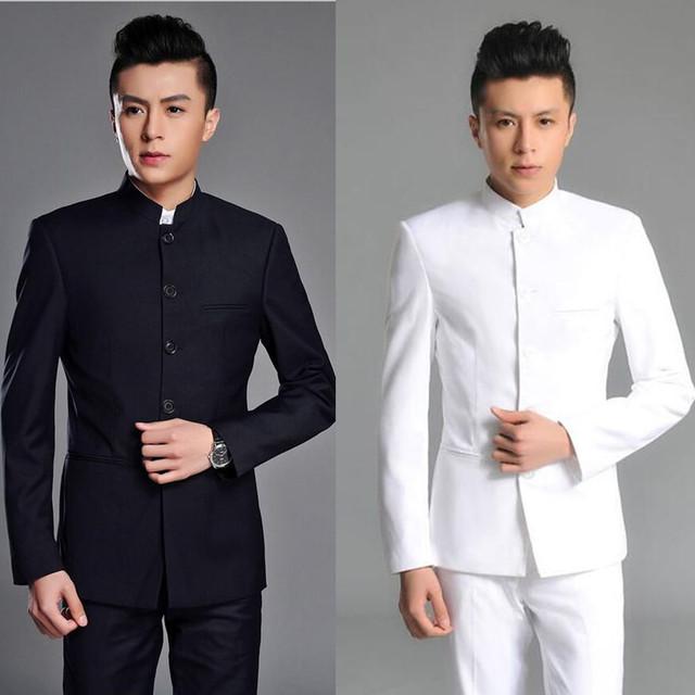 (Jaqueta + Calça) 2017 Top Qualidade Marca de Moda Homens Ternos terno túnica Chinesa Cinza Blazers Fino Ajuste Personalizado Smoking Do Noivo Prom