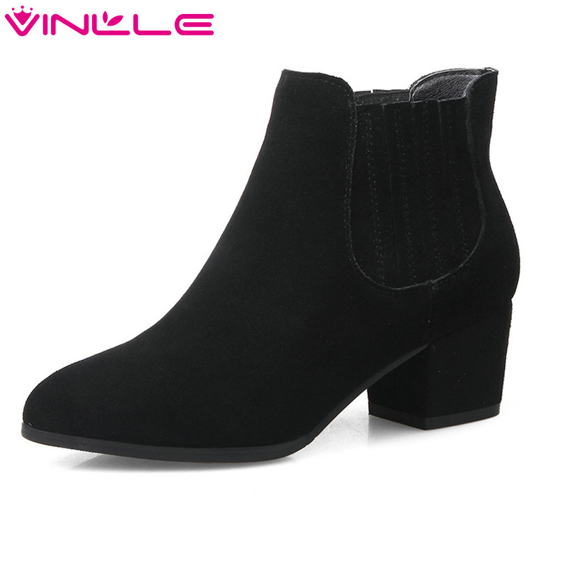 VINLLE 2018 Woman Boots Ankle Boots Square Med Heel Women Shoes Pointed Toe Cow Suede Gray Ladies Motorcycle Boots Size 34-39 vinlle 2018 women ankle boots shoes cow suede square low heel pointed toe zipper black ladies motorcycle shoes size 34 40