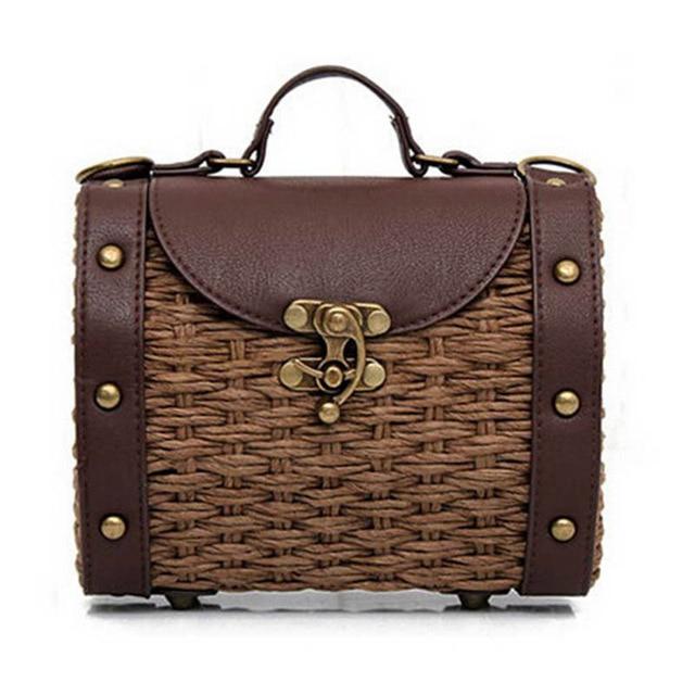 Casual Boston Bags Fashion Vintage Handmade Straw Bag+PU Leather Women Handbags Mini Lady Grass Weaving Bag Shoulder Bags QT-226