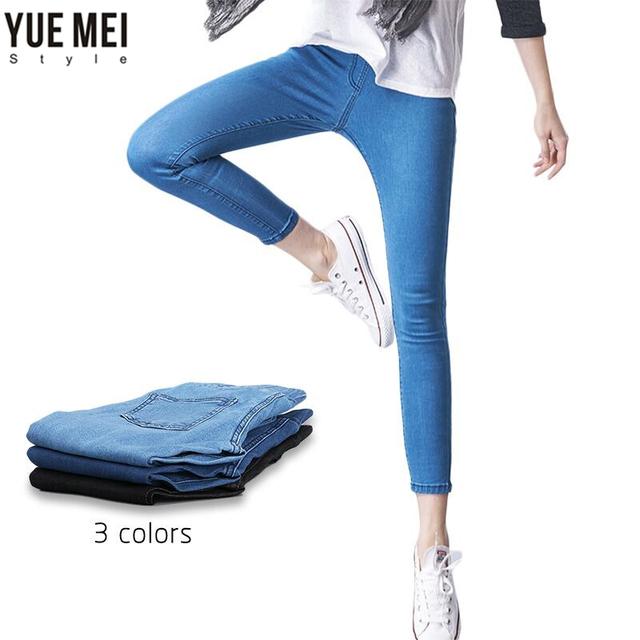 2016 Más El Tamaño Ocasional Pantalones Vaqueros Jeans Mujer Pantalones Delgado Elástico de Algodón Pantalones de Mezclilla jeans para mujer Azul 4xl 5xl 6xl