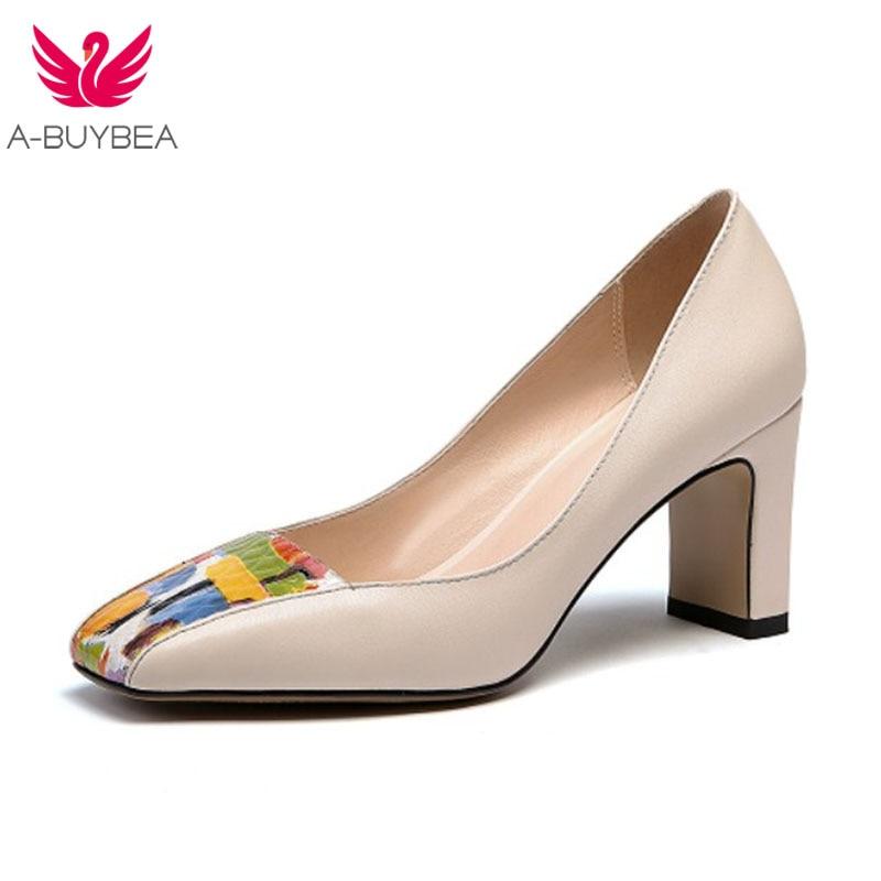 Pumpen Neue Frühjahr Beige Leder Seltsame High schwarzes Party Mode Echt Frauen Heels Karree Schuhe Damen Farbe Mischen UwCBtpqw