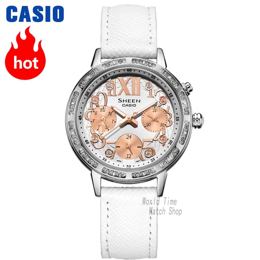 Casio Watch Fashion Casual 3 Diamond Bracelet SHE-3036L-7A2 casio w 215h 7a2